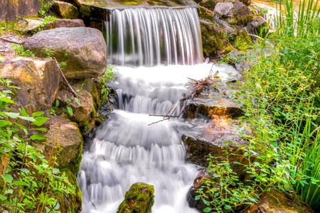 HDR image A small waterfall cascading