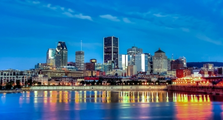 image of a part of the Port and Old Montreal and downtown in the background Stock Photo