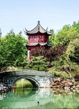HDR-image Chinese temple with small bridge and water-vertical photo