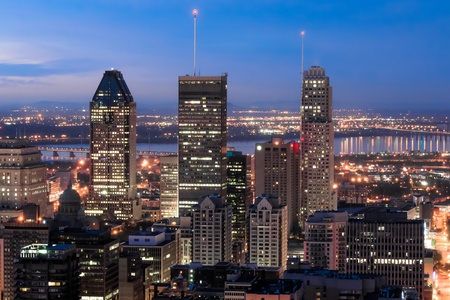 heaving: Three highest Skyscapers in Montreal at dusk.