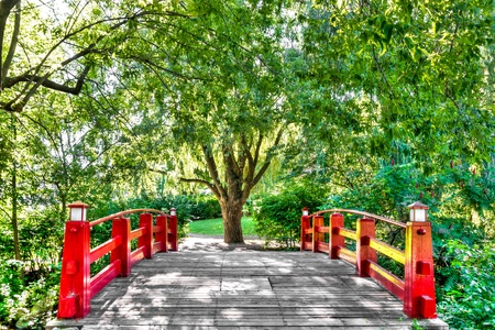 HDR image-Pedestrian Bridge surrounded by trees, flowers and leaves