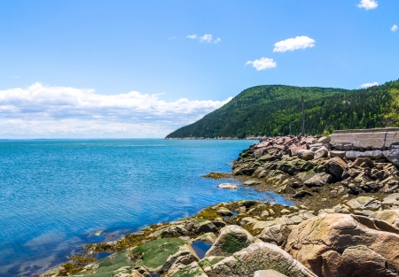 Landscape of Port-au-Persil in Charlevoix, Quebec, Canada   Stock Photo