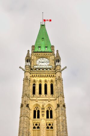 elected: Part of the Clock Tower of the Parliament Buildings in Ottawa, Canada HDR image Stock Photo