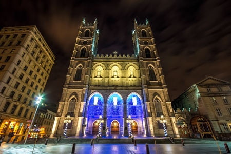 The Notre-Dame Basilica of Montreal with Christmas Decoration  With a little picture noise in the sky  Stock Photo