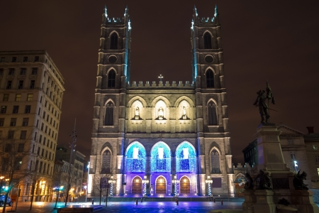 The Notre-Dame Basilica of Montreal at night photo