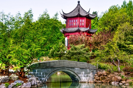 Chinese Temple  with little bridge photo