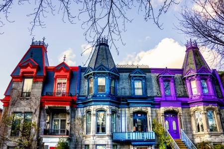Part of the Victorian homes with roof color in Montreal, HDR image