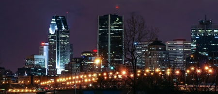 Part of Downtown Montreal Behind The Light Street Stock Photo