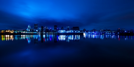 Wide Panoramic View of Montreal, in blue tone at night