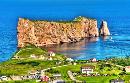 The Perce Rock in Gaspesie, Quebec, Canada HDR Image