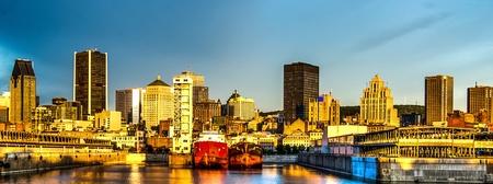 Reflexo do sol ao amanhecer, em parte do porto e centro de Montreal imagem HDR fundo com ru Banco de Imagens