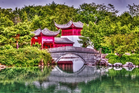 Chinese Garden behind a little bridge image photo
