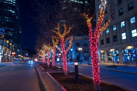 decorative christmas lights around the trees in the middle of mcgill college street in montreal stock