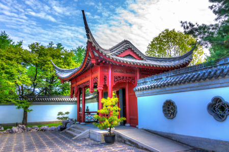 Side View of Entry in Chinese Temple in Montreal, HDR image photo