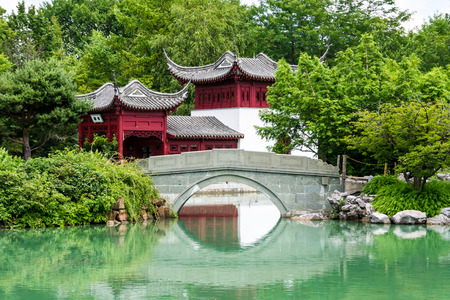 Small Bridge and Water front part of a Chinese temple in Montreal photo