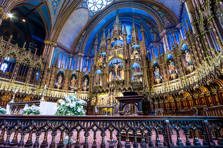 MONTREAL, CANADA - OCTOBER 12  Interior of Notre-Dame Basilic on October 12, 2013 in Montreal, Canada  The church s Gothic Revival architecture is among the most dramatic in the world