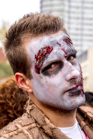 MONTREAL,QUEBEC CANADA - OCTOBER 19 - Zombies at the 2013 Montreal Zombie Walk - 2013 10 19