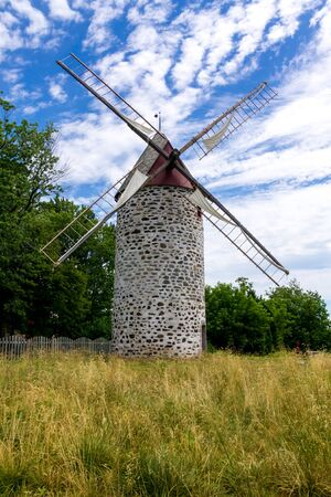 Ancient Windmill from Pointe Aux Trembles Year of Construction 1719, sixth largest windmill in Quebec,Canada Banco de Imagens