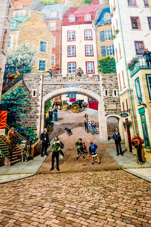 Muurschildering fresco van het district Quebec City