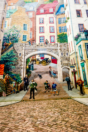 Muurschildering fresco van het district Quebec City