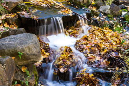Small Waterfall in the park at St Helen Island of Montreal