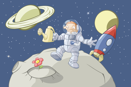 deserted: The cosmonaut has grown up a flower on a lifeless asteroid