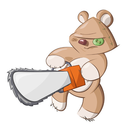 angry teddy: The teddy bear swings the chainsaw Illustration