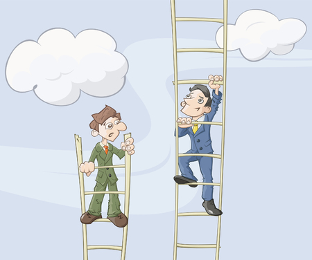 Two businessmen are climbing up on a ladder which symbolizes career growth