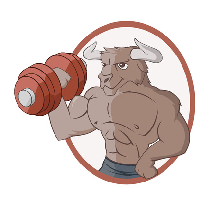 The bull is lifting a dumbbell