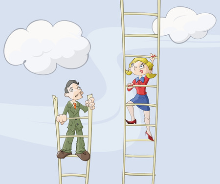 motivating: Businessmen and business lady are climbing up on a ladder which symbolizes career growth
