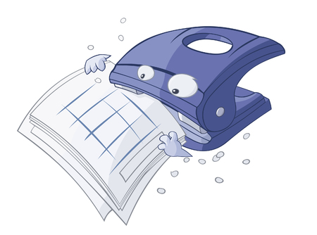 hole puncher: Funny cartoon puncher is eating the papers