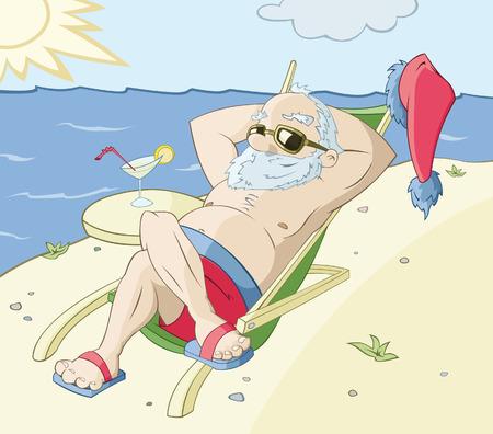 Le Père Noël a un repos sur une plage