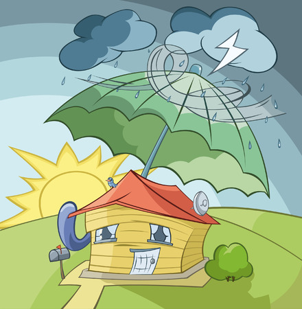 The house is covered from a rain by the big umbrella Ilustração