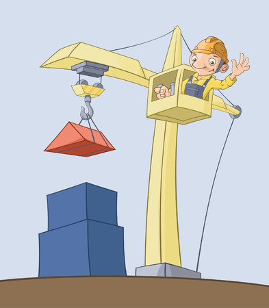 construction worker cartoon: The worker on the crane lifts cargo