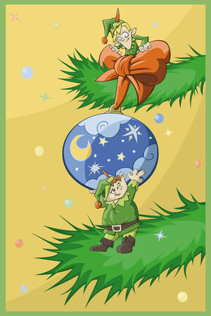 Two Christmas elfs decorate Christmas-tree Vector