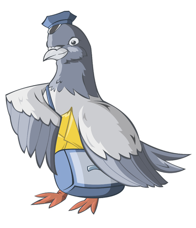 The carrier pigeon has brought the letter Vector