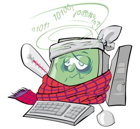 virus informatico: El ordenador personal ha cogido un virus Vectores