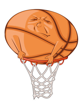 predicament: The fat ball is trying to get in the basketball basket Illustration