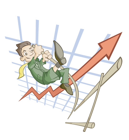 business jump: High jump of the businessman symbolizing success in business Illustration