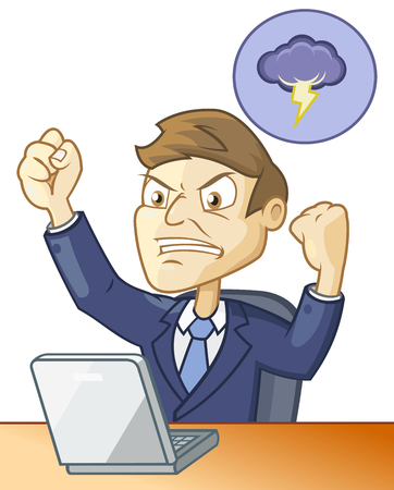 Man is angry because of the fail happens while working on the computer Vector