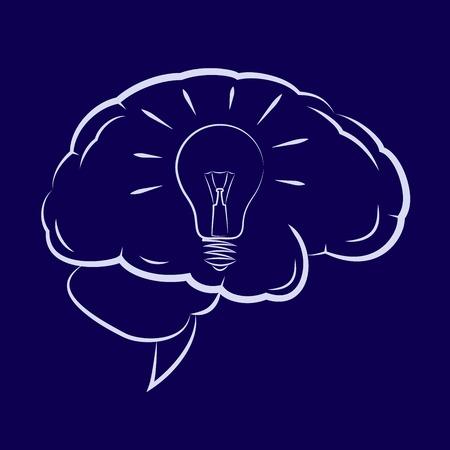 Illustration of the light bulb shining inside human brain