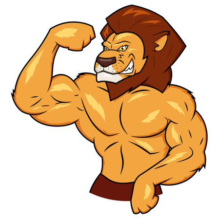 animal mouth: Illustration of the muscular lion posing Illustration