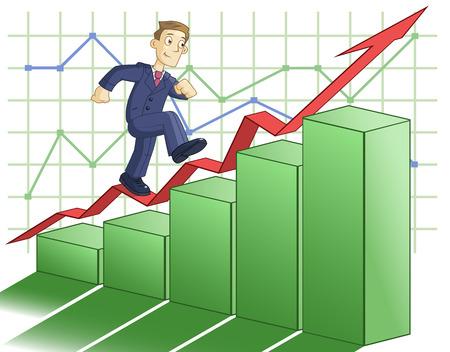 climbing up: Illustration of the businessman climbing up the business graph Illustration