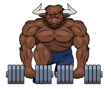 steroids: Illustration of the muscular bull lifting dumbbells