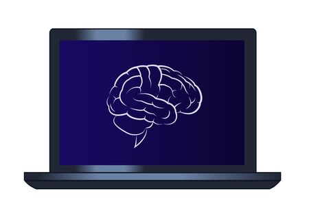 Illustration of the brain on the laptop computer Vector