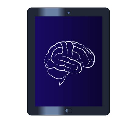 mental object: Illustration of the brain on the tablet computer Illustration