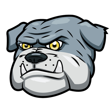 Illustration of the angry aggressive bulldog head