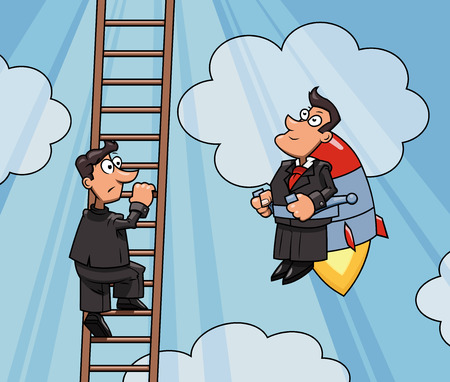 envy: Illustration of the businessman flying up to success by jet pack while another one is climbing by the ladder