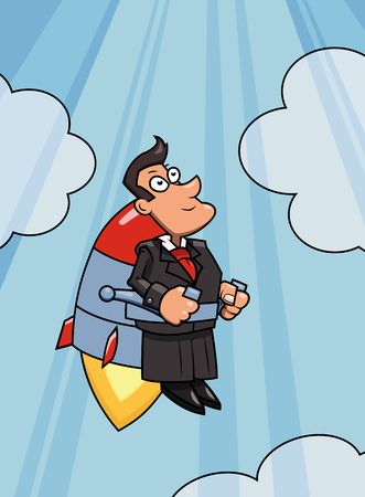 accelerating: Illustration of the businessman flying up to success by jet pack