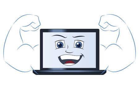 Illustration of the smiling powerful strong laptop computer